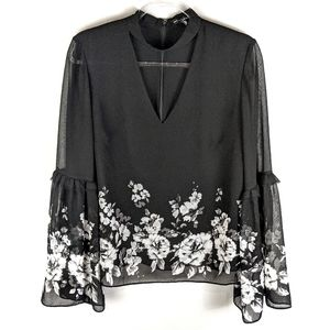 White House Black Market Floral Blouse Sz 10